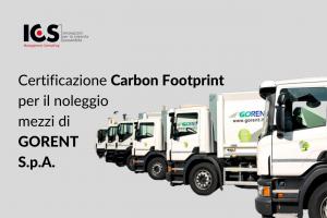 Certificazione Carbon Footprint per il noleggio di mezzi di GORENT S.p.a.