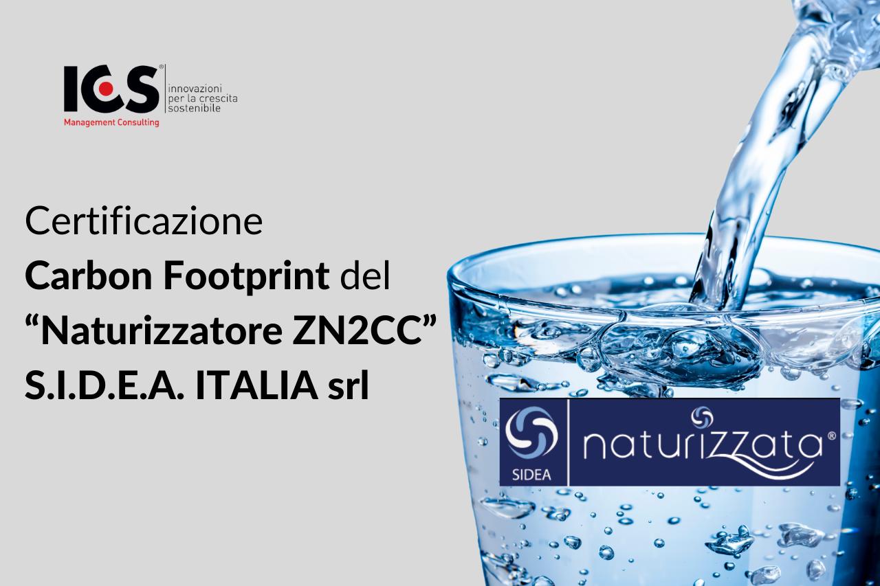 """Certificazione Carbon Footprint del """"Naturizzatore ZN2CC"""" S.I.D.E.A. ITALIA srl"""